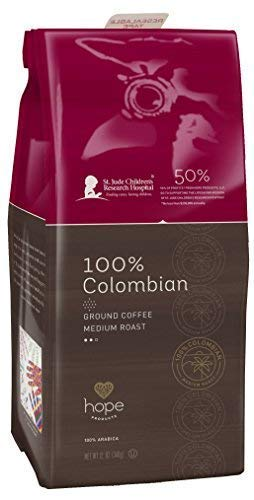 Hope Products Coffee, 100% COLOMBIAN, 12 oz Ground Coffee, 50% of Profits go to St. Jude Children's Research Hospital