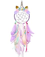 QtGirl Dream Catchers for Kids Unicorn Dream Catcher Feather Wall Décor for Girls Bedroom Flower Wall Hanging Decoration Flower Dream Catcher
