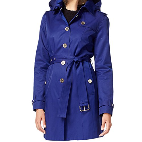 MICHAEL Michael Kors Hooded Satin Trench Coat - Sapphire (Medium) (Michael Kors Trench Coat)