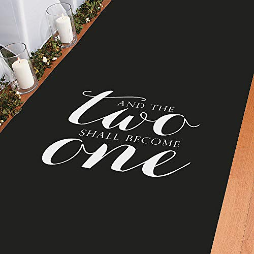 Fun Express Aisle Runner for Weddings - and The Two Shall Become One, Perfect for Indoor, Outdoor, Beach Weddings - Polyester 3'X100' -