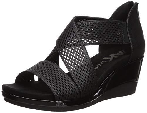 Anne Klein AK Sport Women's Pebbles Wedge Sandal, Black, 9.5 M US