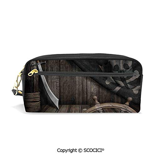 Fasion Pencil Case Big Capacity Pencil Bag Makeup Pen Pouch Steering Wheel with Old Jolly Roger Flag and Saber in Pirates Ship Control Room Art Print Durable Students Stationery Pen Holder for -