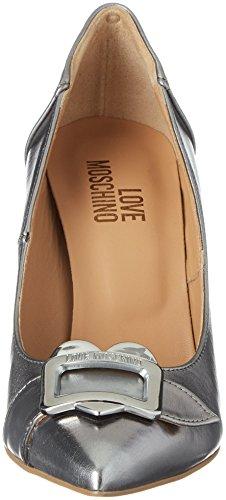 Moschino Laminato anne100 Steel Scarpad Mujer Acciaio Plateado de Zapatos para Tacón Love PU d1agd