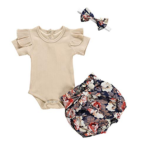 Infant Baby Girls Ruffle Romper Tops Bowknot Floral Bloomer Shorts Headband Outfits Set (6-12 Months, Khaki+Floral)