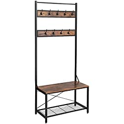SONGMICS Vintage Coat Rack Shoe Bench, Large Size Coat Stand with Storage Bench, Stable Sturdy and Easy Assembly, Accent Furniture with Metal Frame UHSR42BX