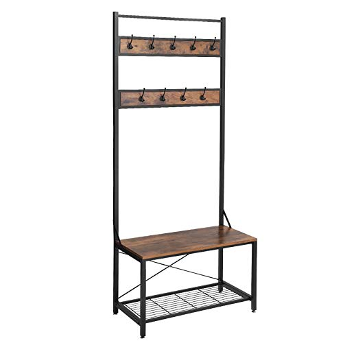 - SONGMICS Vintage Coat Rack Shoe Bench, Large Size Coat Stand with Storage Bench, Stable Sturdy and Easy Assembly, Accent Furniture with Metal Frame UHSR42BX
