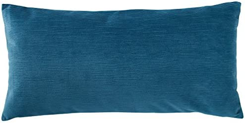 Amazon Brand Rivet Velvet Texture Decorative Throw Pillow, 12 x 24 , Azure