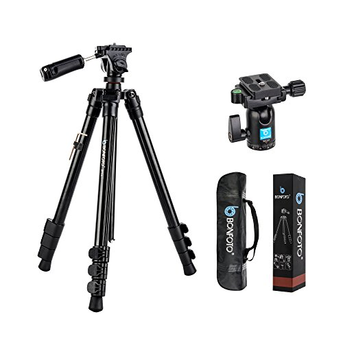 3/8' Body 1/4' Thread - BONFOTO B73A + BH-00 58-inch Aluminum Alloy Professional Compact Travel Camera Tripod and Monopod with Panorama Pan Head + Swivel Ball Head + Carrying Bag for Smartphones and Digital Camera