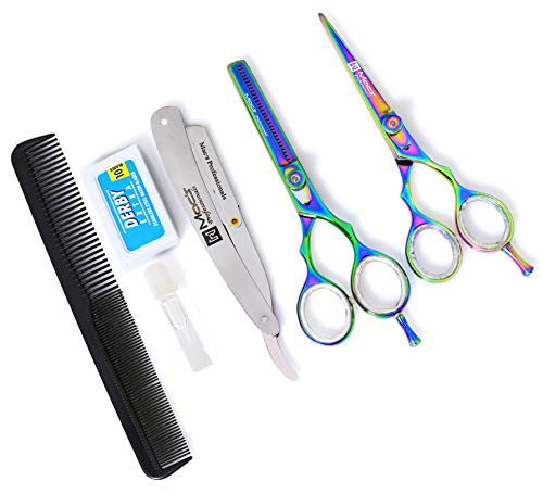 MACS PROFESSIONAL Titanium Barber Scissor Razors Edge Hair Cutting 5 PCs Set 6.25