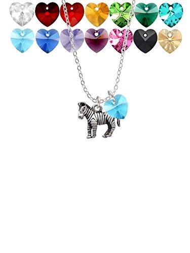 2-D Zebra Custom Crystal Heart Sophia Necklace, ()