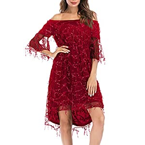 Hapae 20s Delighed Girl Costume Fringed Sequin Fancy Dresses Ladies Gatsby Evening Dress Off Shoulder Sexy Mesh Women's Mini Dress Art Shining Cocktail Gown