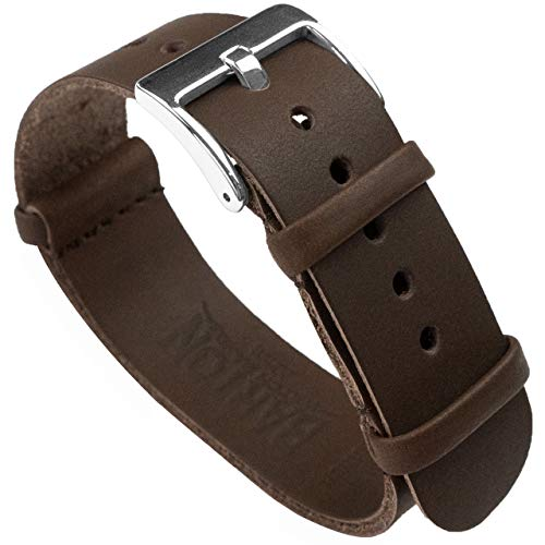 Barton Leather NATO Style Watch Straps - Choose Color, Length & Width - Saddle Brown 22mm