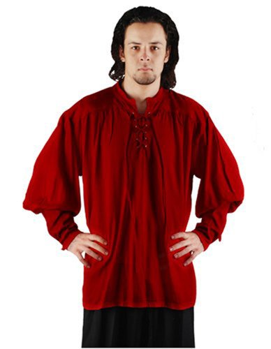 [Pirate Buccaneer Renaissance Medieval Costume Shirt (Large, Red)] (Medieval Shirt Adult Costumes)