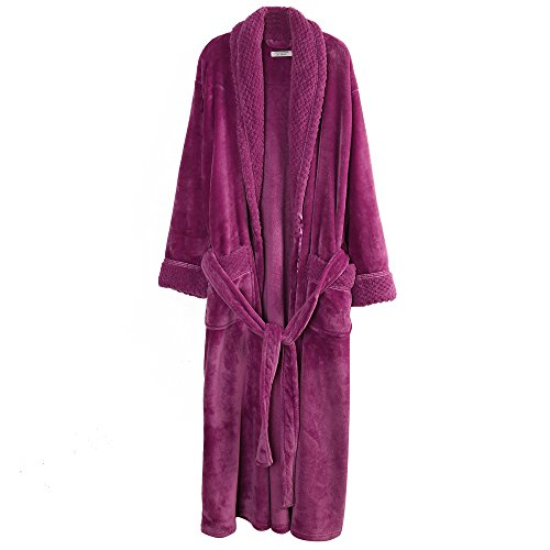 (Richie House Women's Plush Soft Warm Fleece Bathrobe RH1591-E-L Large Dark Purple )