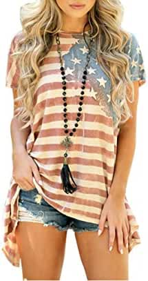 Lkous Women Fashion Sleeveless T-shirt American Flag Printed Camisole Tank Tops