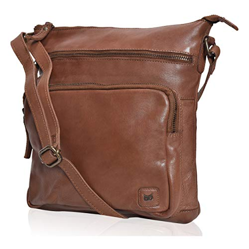 Wise Owl Accessories Women's Leather Crossbody Purses and Handbags for-Premium Crossover Bag Over the Shoulders Washed old look Brown