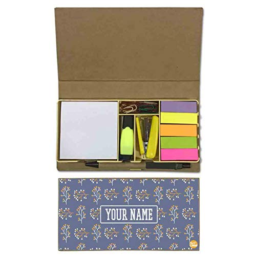 Nutcaseshop Personalized Stationary Kit Desk Customised Organizer Memo Notepad Sticky Note Tabs - Tree Leaf -