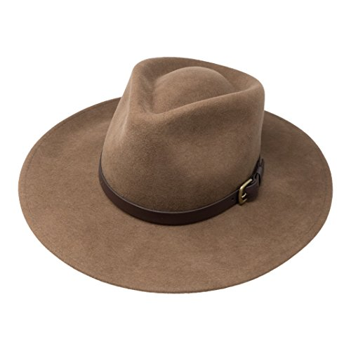 B&S Premium Lewis - Wide Brim Fedora Hat - 100% Wool Felt - Water Resistant - Leather Band - Light Brown 54 ()