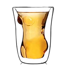 Set of 2 160ml Naked Nude Women Girl Double Layer Glass Cup Crystal Clear Shot Cocktail Beer Wine