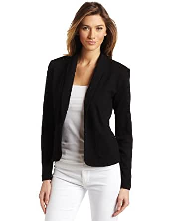 AK Anne Klein Women's Petite Longsleeve Shawl Collar One Button Jacket, Black, Petite Large