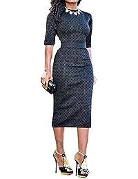 Women's Geometric Print Wear To Work Cocktail Midi Bodycon Dress