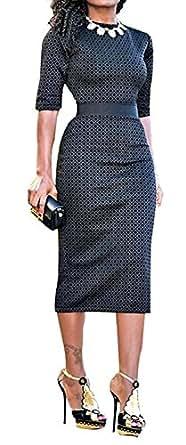 WorkTd Women's Geometric Print Wear to Work Cocktail Midi Bodycon Dress Black XXL
