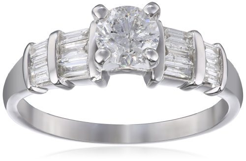 14K White Gold Diamond Fashion Engagement Ring ( 1 cttw, G-H Color, I1-I2 Clarity), Size 7