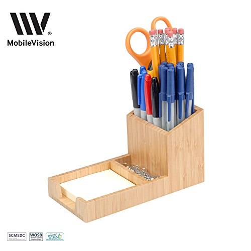 MobileVision Bamboo Pencil Holder with Tray for storing and organizing small stationary items such as paperclips, business cards, and notepads (Pencil Bamboo)