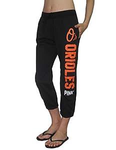Pink Victoria's Secret MLB Baltimore Orioles Womens Yoga Crop Pants L Black