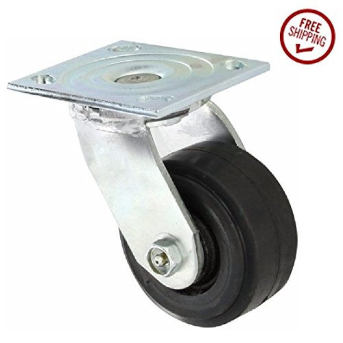 Albion-16-Series-Medium-Heavy-Duty-Zinc-Swivel-Plate-Caster-Roller-Bearing-4-Diameter-Mold-on-Rubber-on-Cast-Iron-Wheel-4-12-Length-x-4-Width-Plate-300-lbs-Capacity-Pack-of-4