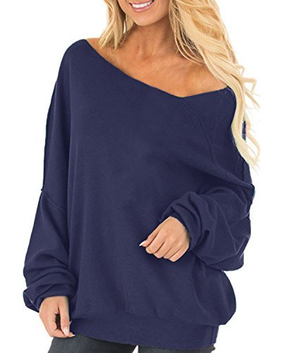Auxo Womens Off The Shoulder Tops Baggy Shirt Long Sleeve Blouse Oversized Sweater Jumper Pullover Blue US 16/Asian 2XL
