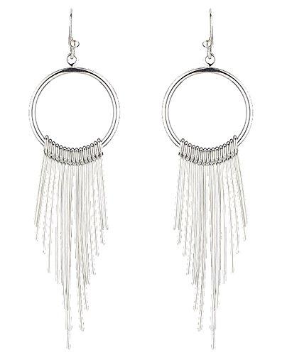 Geometric Fringe (Women's Brass Metal Geometric Hoop with Metal Fringe Dangle Pierced Earrings, Silver-Tone)