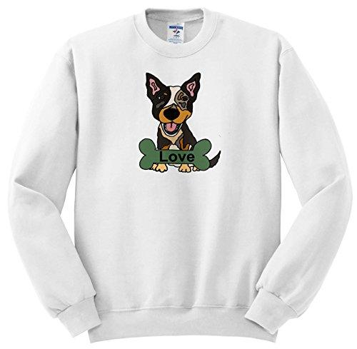 All Smiles Art Pets - Funny Cute Australian Cattle Dog Love Bone - Sweatshirts - Adult SweatShirt 2XL (ss_256452_5) ()