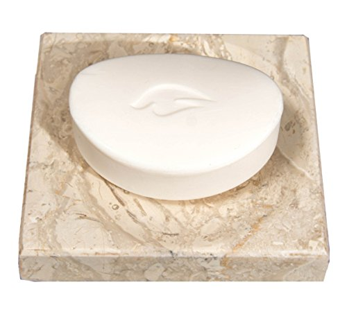 (CraftsOfEgypt Beige Marble Soap Dish - Polished and Shiny Marble Dish Holder - Beautifully Crafted Bathroom Accessory)