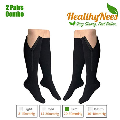 HealthyNees 2 Pairs Set Closed Toe 20-30 mmHg Zipper Compression Fatigue Swelling Circulation Knee Length Socks (S/M - 2 Pairs Black) ()