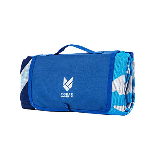 CGEAR Sandlite - Patented Sand-Free Beach Mat - Multi Use Outdoor Camping Mat, Picnic Blanket, Exercise Stretching Mat - Rollup Compact - Also Great for Families, Navy Lobster