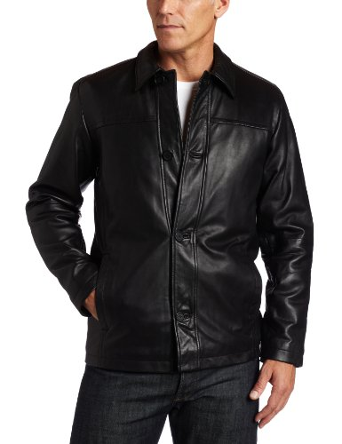 Perry Ellis Men's Lambskin Leather Button Front Jacket, Black, S ()