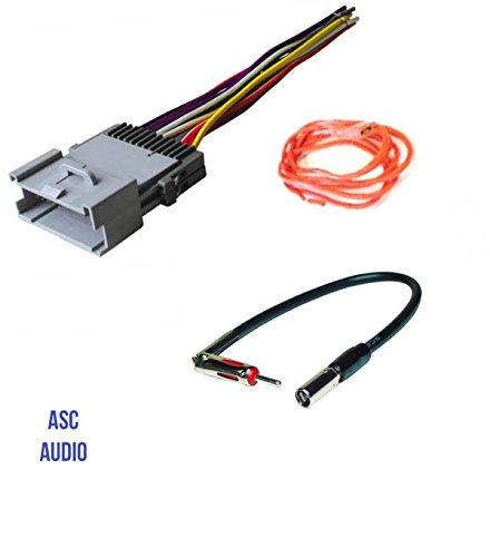 ASC Audio Car Stereo Wire Harness and Antenna Adapter for some Buick Chevrolet GMC Hummer Isuzu Oldsmobile Pontiac- 03-06 Silverado, Tahoe, Suburban, Sierra etc.- Please Read Important Info (Aftermarket Radio Wiring Harness)