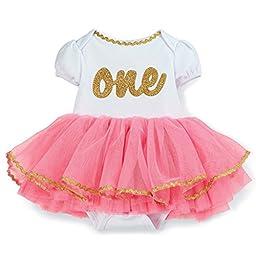 Mud Pie Baby Girl First Birthday Crawler Outfit 9-12 Months (Birthday Crawler-Tutu)