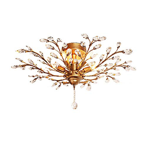 Copper And Crystal Pendant Light