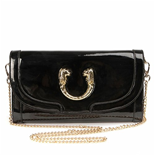 Paste Women's Split Leather Fashional Clutch Bag Chain Cross Body Strap Satchel Balck 3p0361-balck