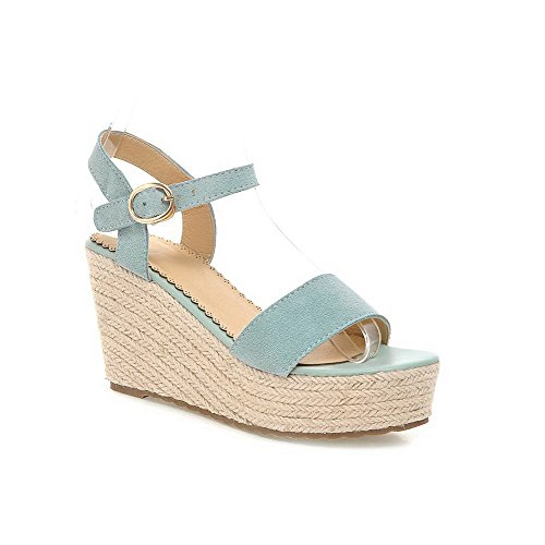 AllhqFashion Women's Open Toe High Heels Frosted Solid Buckle Sandals LightBlue