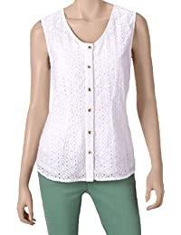 Womens Eyelet Lace Woven Top, White