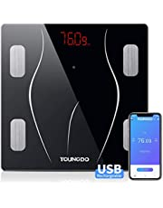 YOUNGDO Body Fat Scale with 23 Essential Measurements, Weighing Scale Smart Bathroom Digital Scales,USB Charging Body Composition Analyzer Monitors for BMI,Visceral Fat,Muscle,Body Weight and Age