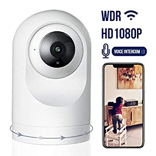 Security Camera,1080P WiFi Smart Camera Motion Detection with Night Vision,App Alarm Push,Two Way Audio Work with Alexa,Support 64GB TF Card,Cloud Storage(Need Charge),Home Camera for Baby Pet Elderly