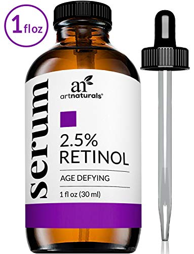 - ArtNaturals Enhanced Retinol Serum, 2.5% with 20% Vitamin C and Hyaluronic Acid, Best anti Wrinkle/Aging Serum for Face and Sensitive Skin, 1 oz.