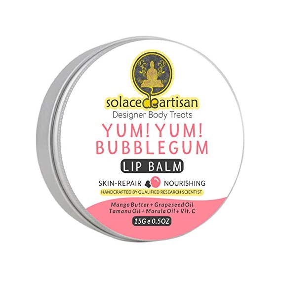 SolaceDeArtisan Bubblegum Skin Repair Organic Lip Balm, Shea & Cocoa Butter, SuperValuePack 15g