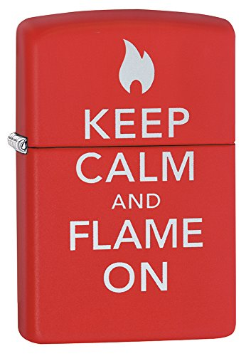 Zippo Keep Calm Lighter, Red Matte
