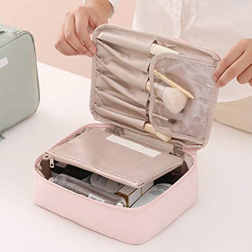 Travel Makeup Bag, Brush Boxes With Make Up Pouch Organizator Train Case Clear, Plain Cosmetic Included Organizer And Storage Bags Stuff Kit For Women Full Kit Essentials Professional (Pink)