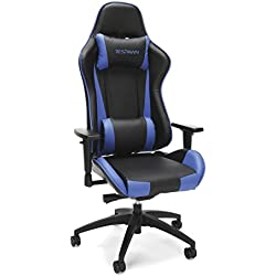 RESPAWN-105 Racing Style Gaming Chair - Reclining Ergonomic Leather Chair, Office or Gaming Chair (RSP-105-BLU)
